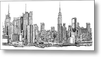 New York Skyline As Gift Metal Print by Building  Art