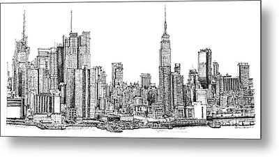 New York Skyline In Ink Metal Print by Adendorff Design