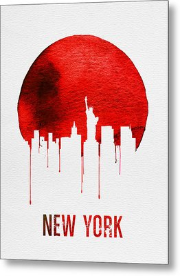 New York Skyline Red Metal Print by Naxart Studio