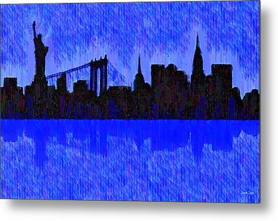 New York Skyline Silhouette Blue - Pa Metal Print