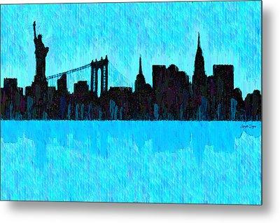 New York Skyline Silhouette Cyan - Pa Metal Print