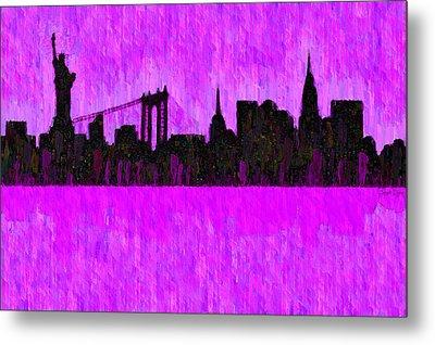 New York Skyline Silhouette Purple - Da Metal Print by Leonardo Digenio