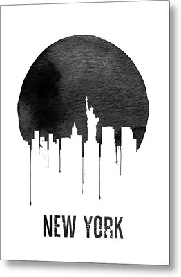 New York Skyline White Metal Print by Naxart Studio