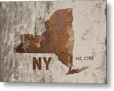 New York State Map Industrial Rusted Metal On Cement Wall With Founding Date Series 001 Metal Print by Design Turnpike