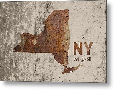 New York State Map Industrial Rusted Metal On Cement Wall With Founding Date Series 025 Metal Print