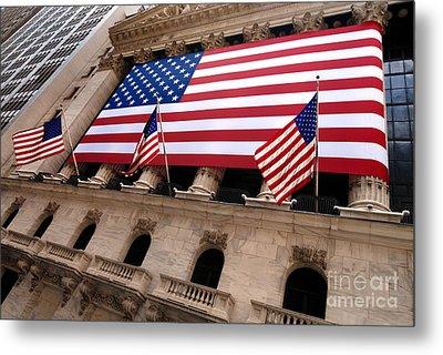 New York Stock Exchange American Flag Metal Print by Amy Cicconi