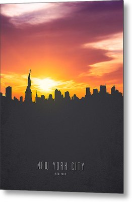 New York Sunset Skyline 01 Metal Print by Aged Pixel