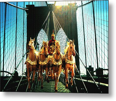 New York Time Machine - Fantasy Art Collage Metal Print by Art America Gallery Peter Potter