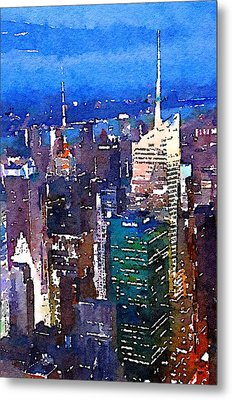 New York Time Square - Watercolor Metal Print by Marianna Mills