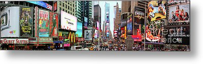 New York Times Square Panorama Metal Print by Kasia Bitner