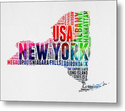 New York Watercolor Word Cloud Map Metal Print by Naxart Studio