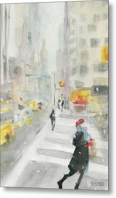 New York Winter 57th Street Metal Print by Beverly Brown