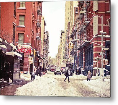 New York Winter - Snowy Street In Soho Metal Print by Vivienne Gucwa