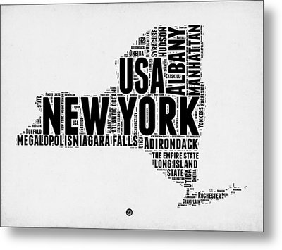 New York Word Cloud Map 2 Metal Print