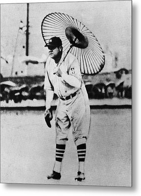 New York Yankees. Babe Ruth, Holding Metal Print by Everett