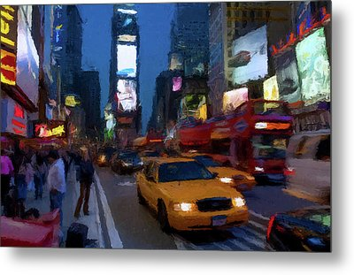 Metal Print featuring the painting New York Yellow Cab by David Dehner