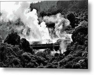 New Zealand - Figures Against Hot-steam - Black And White Metal Print