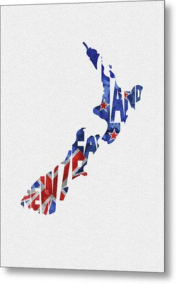 New Zealand Typographic Map Flag Metal Print