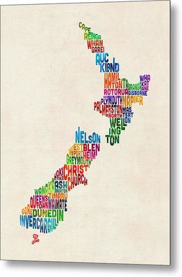 New Zealand Typography Text Map Metal Print by Michael Tompsett
