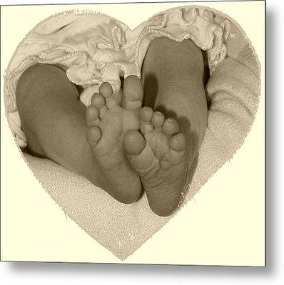 Newborn Feet Metal Print