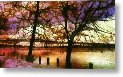 Newburgh Beacon Bridge Purple Skies Metal Print by Janine Riley
