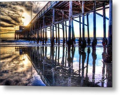 Newport Beach Pier - Reflections Metal Print