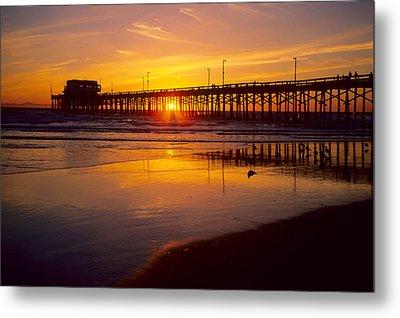 Newport Pier Sunset Metal Print by Eric Foltz