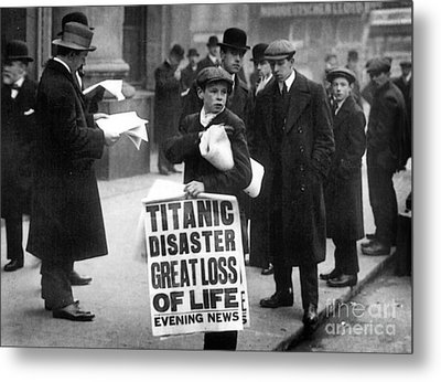 Newsboy Ned Parfett Announcing The Sinking Of The Titanic Metal Print by English School