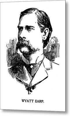 Metal Print featuring the mixed media Newspaper Image Of Wyatt Earp 1896 by Daniel Hagerman