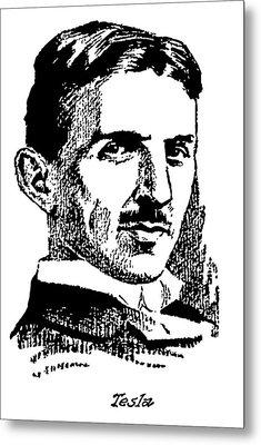 Metal Print featuring the digital art Newspaper Nikola Tesla  by Daniel Hagerman