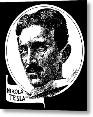 Metal Print featuring the digital art Newspaper Tesla 2 by Daniel Hagerman