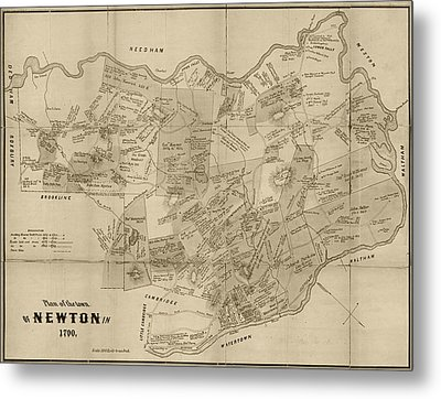 Newton Ma City Plans From 1700 Sepia Metal Print