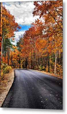 Nh Autumn Road 1 Metal Print by Edward Myers