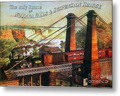 Niagara Falls Bridge, 1876 Metal Print by Granger