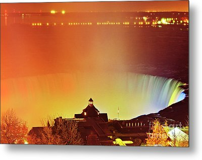 Metal Print featuring the photograph Niagara Falls Illumination Light Show by Charline Xia