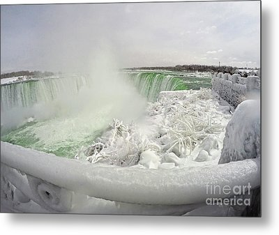 Niagara Falls Winter Crystal Ice Formation Metal Print by Charline Xia