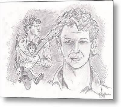 Metal Print featuring the drawing Nick Jonas by Chris  DelVecchio