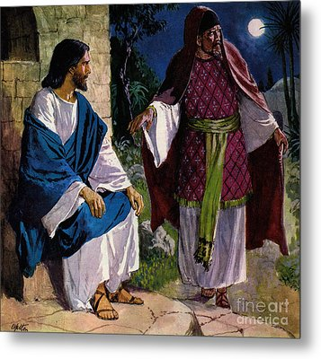 Nicodemus Coming To Jesus Christ Metal Print