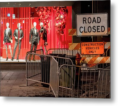 Metal Print featuring the photograph Men At Work  On Nicollet Mall by Jim Hughes