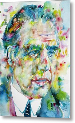 Metal Print featuring the painting Niels Bohr - Watercolor Portrait by Fabrizio Cassetta