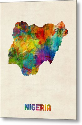 Nigeria Watercolor Map Metal Print by Michael Tompsett
