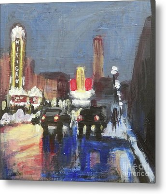 Night Around Michigan Theater Metal Print by Yoshiko Mishina