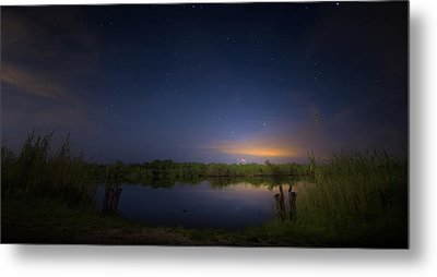 Night Brush Fire In The Everglades Metal Print by Mark Andrew Thomas
