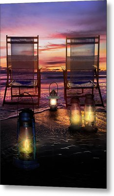 Metal Print featuring the photograph Night Lights At Sunset by Debra and Dave Vanderlaan