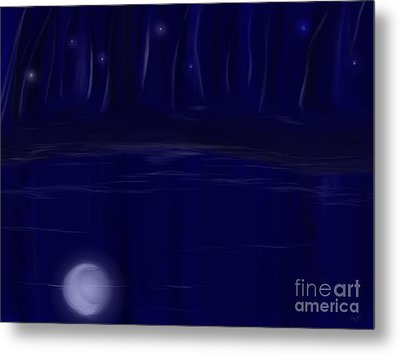 Metal Print featuring the painting Night Lights by Roxy Riou