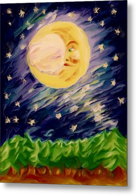Metal Print featuring the painting Night Moon by Shelley Bain