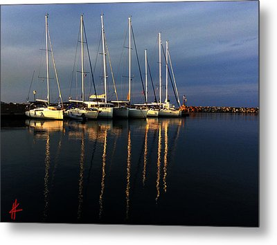 Night On Paros Island Greece Metal Print