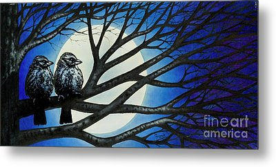 Metal Print featuring the painting Night Perch by Michael Frank