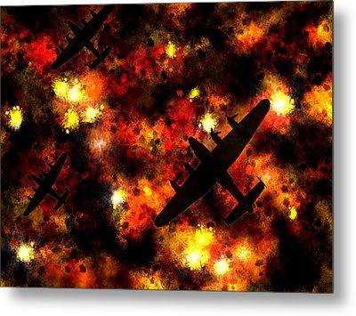 Night Raid - Lancaster Bomber Metal Print by Michael Tompsett