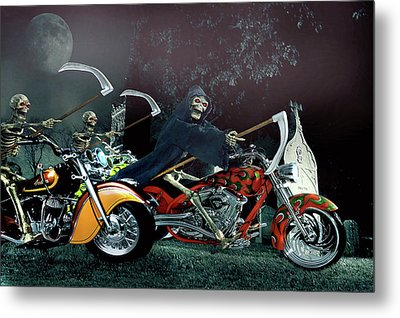 Metal Print featuring the photograph Night Riders by Steven Agius